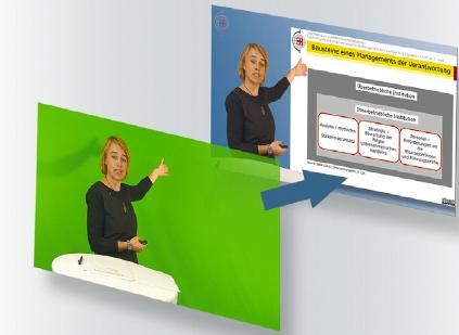Abbildung 4: Aufnahme vor einem Greenscreen und spätere Einblendung der Folien