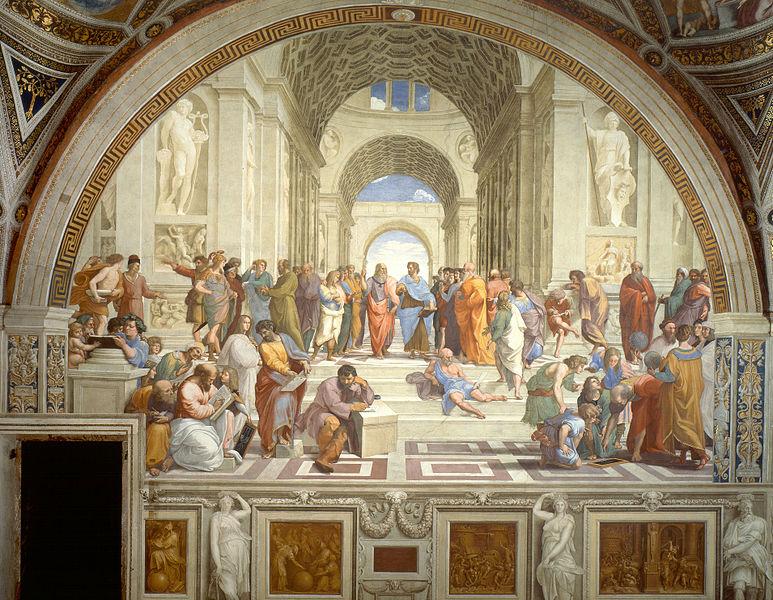 """Schule von Athen: Nachhaltige Lektionen über ein ausgeglichenes Leben – ganz ohne Smartphone.Die Schule von Athen (ital. La scuola di Atene) ist ein Fresko des Malers Raffael, das dieser von 1510 bis 1511 in der Stanza della Segnatura des Vatikans (ursprünglich der Saal für die Unterschriftsleistung in den Privaträumen des Papstes) für Papst Julius II. anfertigte. Das Bild ist Teil eines Zyklus, der neben der """"Schule von Athen"""", den """"Parnass"""", die """"Disputatio"""" (Erläuterung des Altarssakraments) und die """"Kardinal- und die göttlichen Tugenden und das Gesetz"""" darstellt. Der Titel des Bilds verweist auf die herausragende philosophische Denkschule des antiken Griechenlands, verkörpert von ihren Vorläufern, Hauptvertretern und Nachfolgern. Im Zentrum stehen die Philosophen Platon und Aristoteles. Das Fresko verherrlicht im Sinne der Renaissance das antike Denken als Ursprung der europäischen Kultur, ihrer Philosophie und Wissenschaften."""